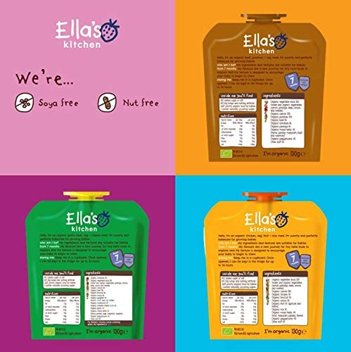 Ella's Kitchen Organic Meal Time Favourites Variety Pack (Pack of 18 Pouches), Weaning Stage 2, 7+ Months Baby Food, 130g Pouch