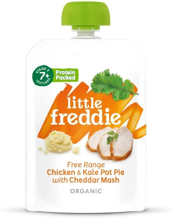 Little Freddie Organic Baby Food Stage 2 (from 7 months) Free Range Chicken and Kale Pot Pie with Cheddar Mash (6x130g pouches)