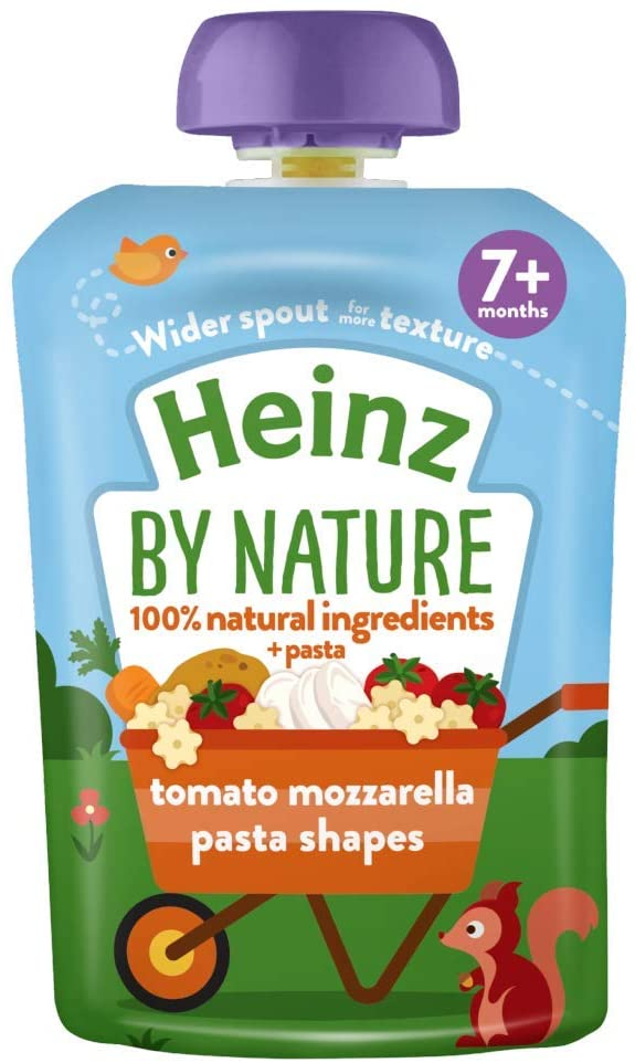 Heinz Tomato and Mozzarella Pasta Shapes Meal Pouch, 7 Months +, 5 x 130g