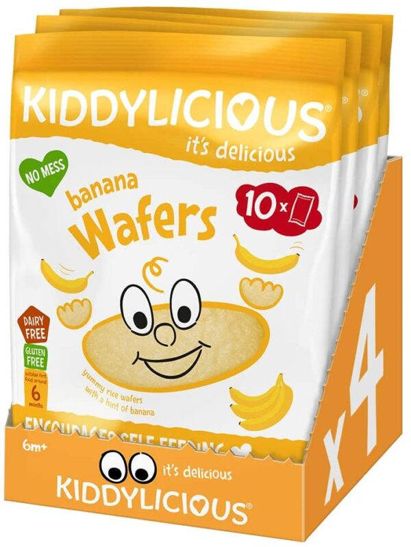 Kiddylicious Banana Wafers   Gluten and Dairy Free Kids Snack   Suitable for 6 Months+   4 x 10 Twin Packs 5080210