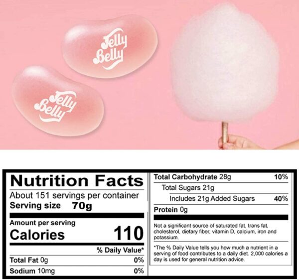 Jelly Belly Jelly Beans - Gluten Free Sweets, Dairy and Fat Free - Cotton Candy Flavor, 70g Food Gifts for Children