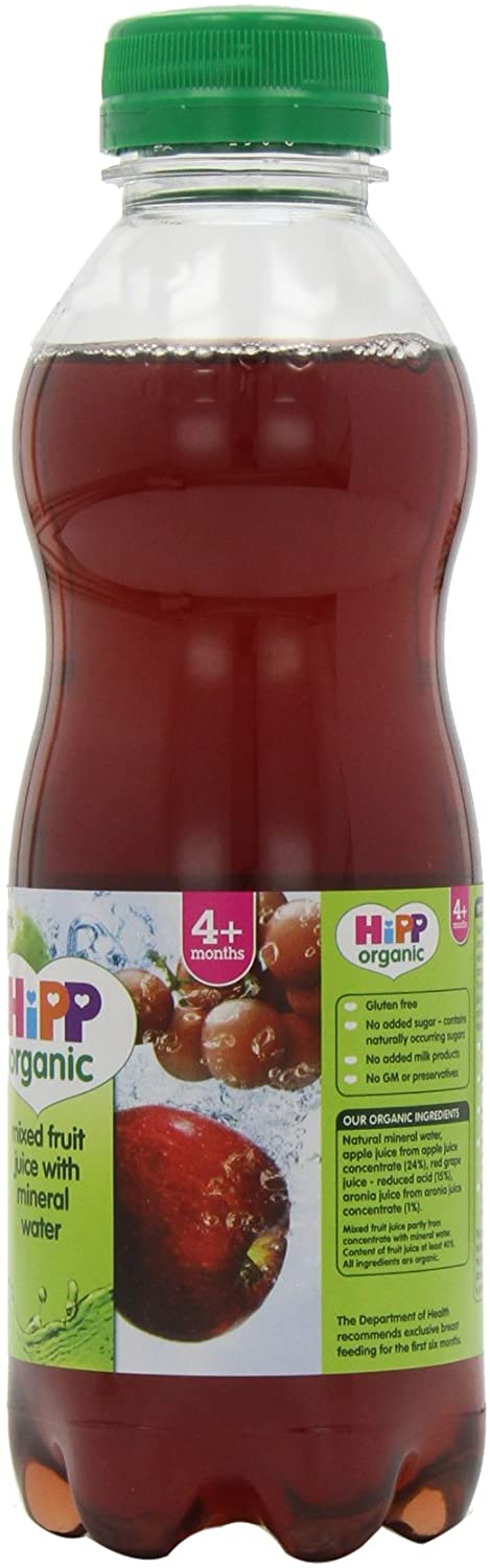 HiPP Organic Mixed Fruit Juice With Mineral Water 4+ Months 500ml (Pack of 6)