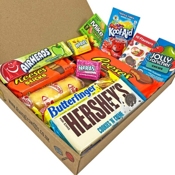 American Chocolate & Sweets USA candy Large selection box from Heavenly Sweets UK - chocolate gift box of classic USA candy brands Reese's Pieces, Hershey's, Nerds & more. Perfect for birthdays, easter or Christmas presents! 28x19x4cm Package Size.