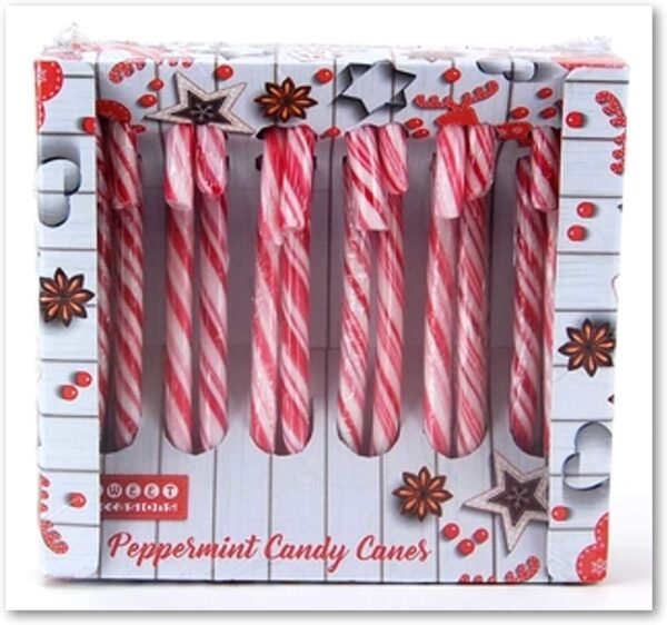 12 Red and White Peppermint Flavoured Candy Canes 144g