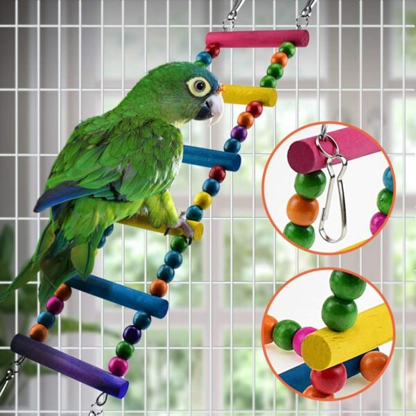 6 Pcs Bird Parrot Toys, Bird Swing Toy Colorful Chewing Hanging Hammock Swing Bell Pet Climbing Ladders Toys Bird Toys For Par