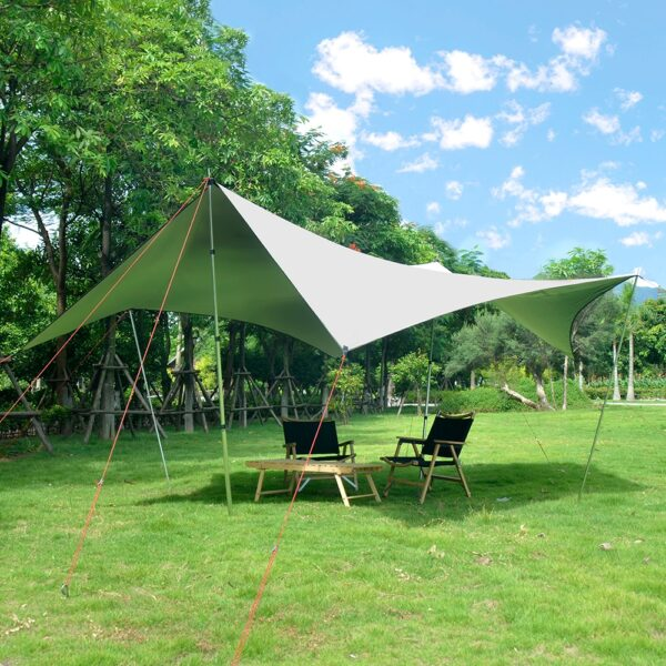 Without Poles!Vialido Large Space Outdoor Camping Shade Anti-ultraviolet Sunscreen Heat Insulation Camping Shelter Tent Canopy