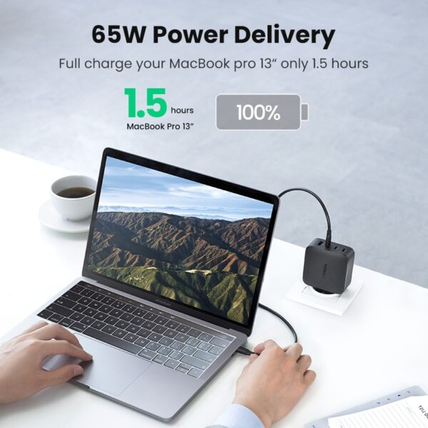 Ugreen 65W GaN Charger Quick Charge 4.0 3.0 Type C PD USB Charger with QC 4.0 3.0 Fast Charger for iPhone 12 Pro Xiaomi Laptop