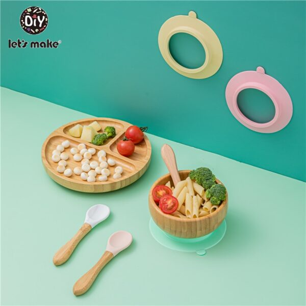 1set Baby Feeding Bamboo Bowl With Spill Proof Silicone Spoon Baby Dinner Plate Feeding Dinnerware Toddler Infant Tableware Set