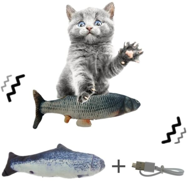 30CM Pet Cat Toy Electric USB Charging Simulation Dancing Moving Floppy Fish Cats Toy For Pet Toys Interactive Dog Dropshipping