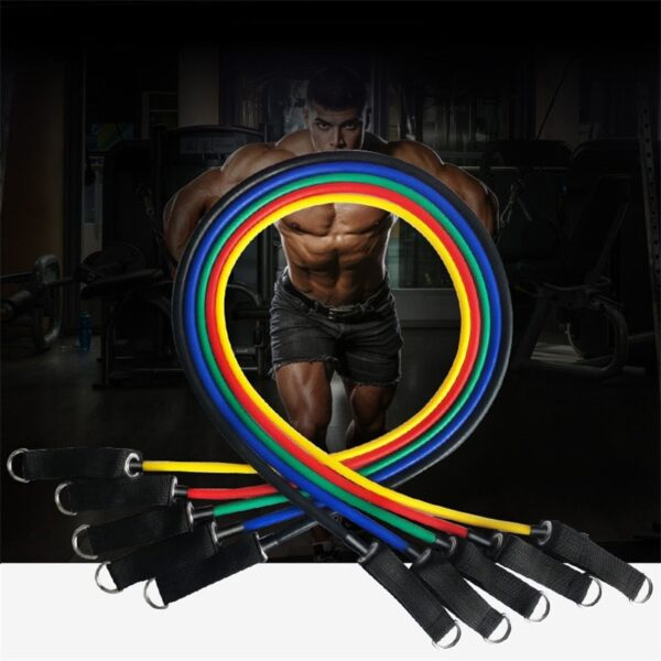 11pcs set Pull Rope Fitness Exercises Resistance Bands 5cTPR elastic Tubes rope Yoga Band indoor Body sports Training equipment