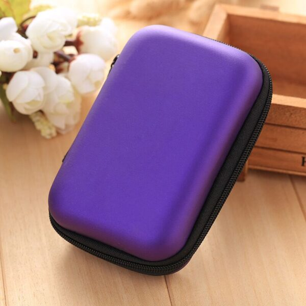 NEW Mini Hard Headphone Case PU Leather Earphone Storage Bag Protective Case USB Cable Earbuds Pouch Box Earphone Accessories