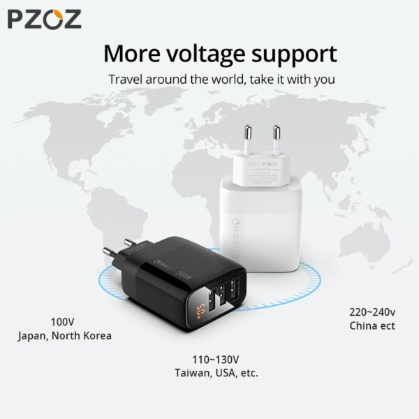 PZOZ USB Charger 30W Fast Charging 18W Quick Charge 3.0 LED Display EU Wall Adapter For iphone 11 Samsung A50 xiaomi redmi note8