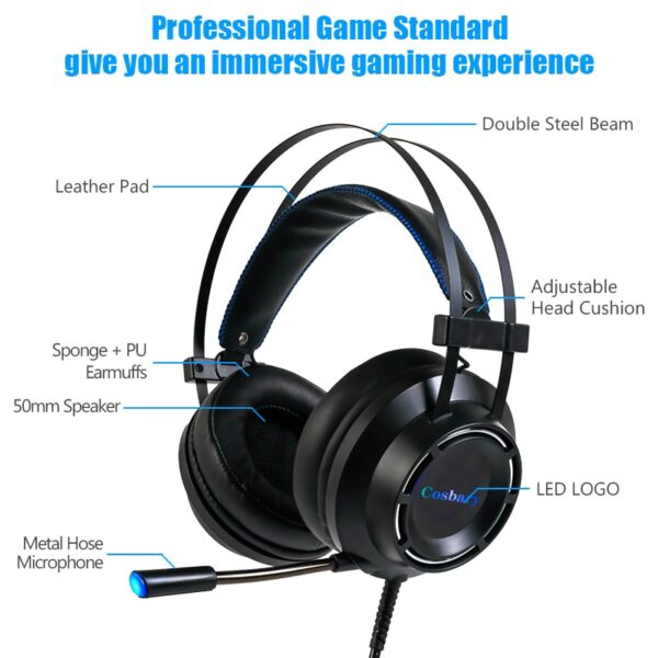 Profession Gaming Headset with BOX Deep Bass Game Headphones with Microphone for Computer Gamer 7.1 USB Channel Surround Sound