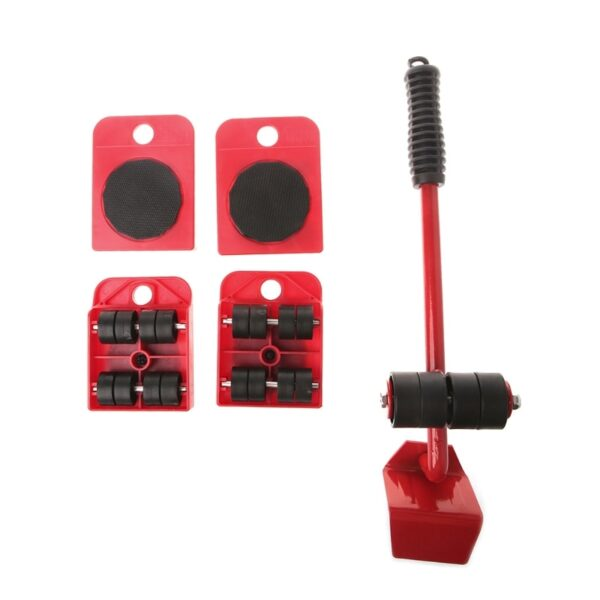 Furniture Mover Tool Transport Lifter Heavy Stuffs Moving Wheeled Roller Bar Set