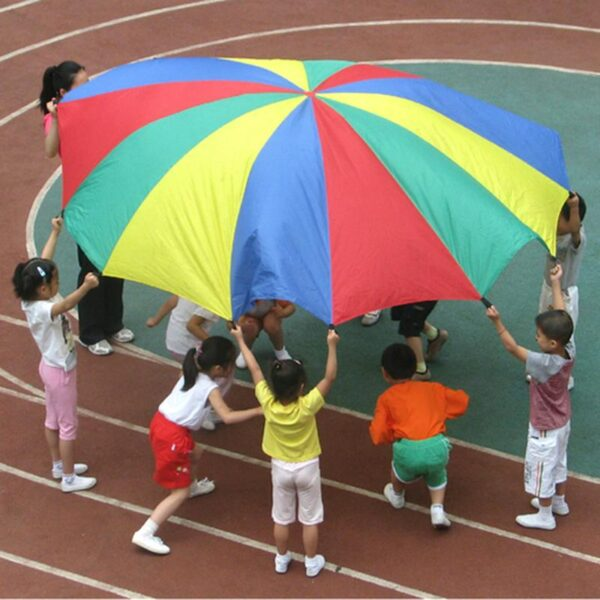 Kids Dia 2M Rainbow Umbrella Parachute Toy Children Outdoor Sports Games Play Toy Baby Colorful Jump-sack Ballute Parachute Mat