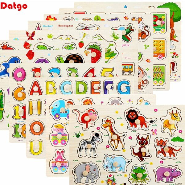30cm Baby Toys Montessori Wooden Puzzle Hand Grab Board Educational Wood Puzzles for Kids Cartoon Animal Vehicle Child Gift
