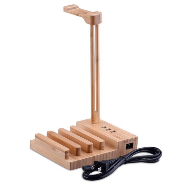 Light Weight Wooden Headphone Hanger Holder Stand With USB Interface Universal Charging Earphone USB 5V/3A Charger With 3 USB 3.