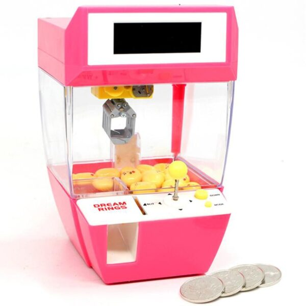 Funny Children Kids Coin Operated Games Mini Claw Hanging Doll Machine Dolls CATCHER Toy Crane Machines Candy Alarm Clock Game