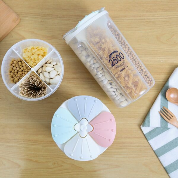 Sealed Storage Box Crisper Grains Food Storage Tank Household Kitchen Food Containers for Dry Cereals Measure Cups Kitchen Tool