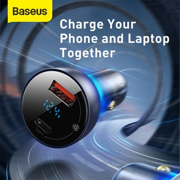 Baseus 65W Car Charger Quick Charge 4.0 3.0 USB Phone Charger forHuawei SCP QC4.0 QC3.0 Type C PD Fast Charging Charger in Car