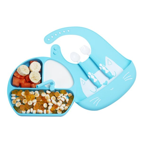 Baby Silicone Feed Plate Food Grade Children's Dishes Bowl Toddler Feeding Plate Baby Food supplement Tableware with Straw Spoon