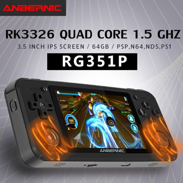 RG351P ANBERNIC Retro Game PS1 RK3326 64G Open Source System 3.5 inch IPS Screen Portable Handheld Game Console RG351gift 2400