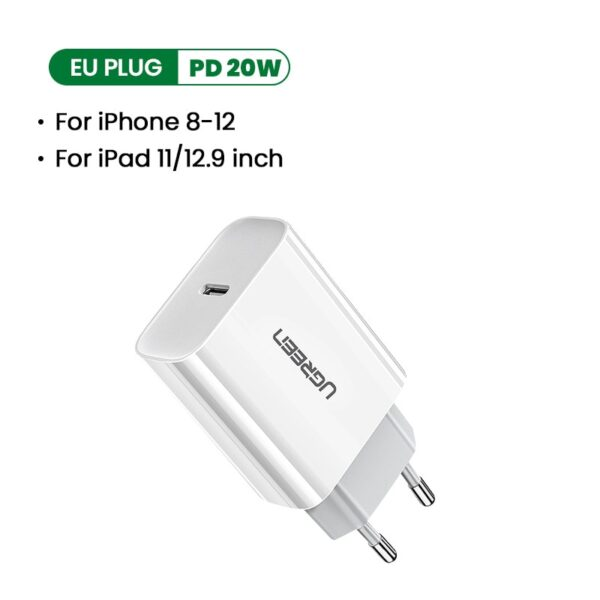 Ugreen Quick Charge 4.0 3.0 QC PD Charger 20W QC4.0 QC3.0 USB Type C Fast Charger for iPhone 12 X Xs 8 Xiaomi Phone PD Charger