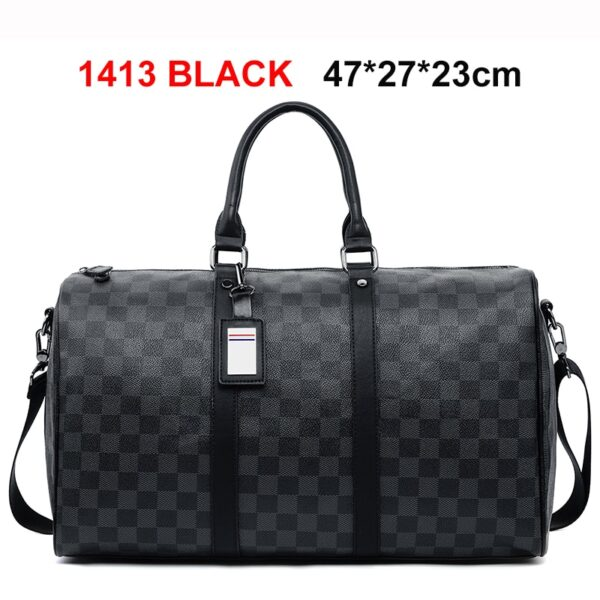 VICUNA POLO Classic Plaid Design Mens Leather Travel Bag Brand Leather Business Man Bag Overnight Tote Bags Carry On Luggage